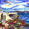 Santorini in Scarlett, Greece - signed original painting on canvas, framed. Price includes shipping within the US.