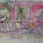 I SELLS CONK FOR A LIVIN, Harbor Island, the Bahamas by Lalita L. Cofer, sketch with color